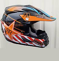 Шлем кроссовый  чёрно оранжевый Рок Стар глянец размер S, фото 1