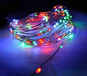 Гирлянда медная лампа серебряный провод 10м RD-7106 | Проволочная нить разноцветная RGB