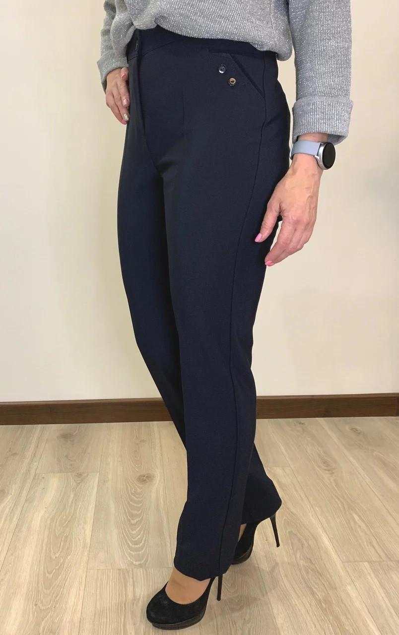 Штани жіночі теплі на байку синього кольору великого розміру