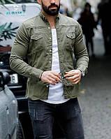 Мужская джинсовая рубашка хаки