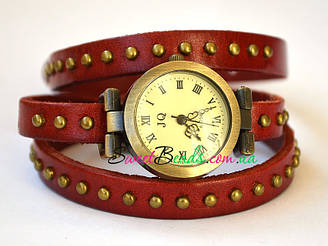 Годинник на ремінь з заклепками, червоний