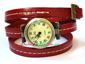 Часы наручные со швом, красный