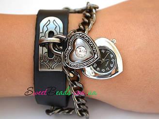 Часы наручные С цепями сердце, черный