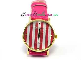 Часы наручные Geneva Круглые в полоску, малиновый