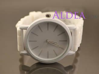 Часы наручные Geneva Круглые белый фон, белый ремешок