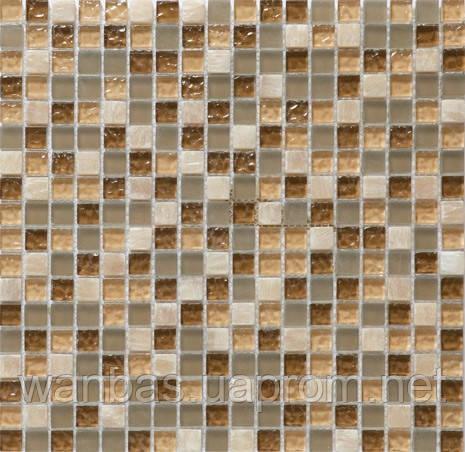Мозаика стеклянная с добавлением Мрамора DAF 1(1,5 х 1,5 см)