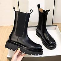 Ботинки женские челси с резинкой чёрные кожаные