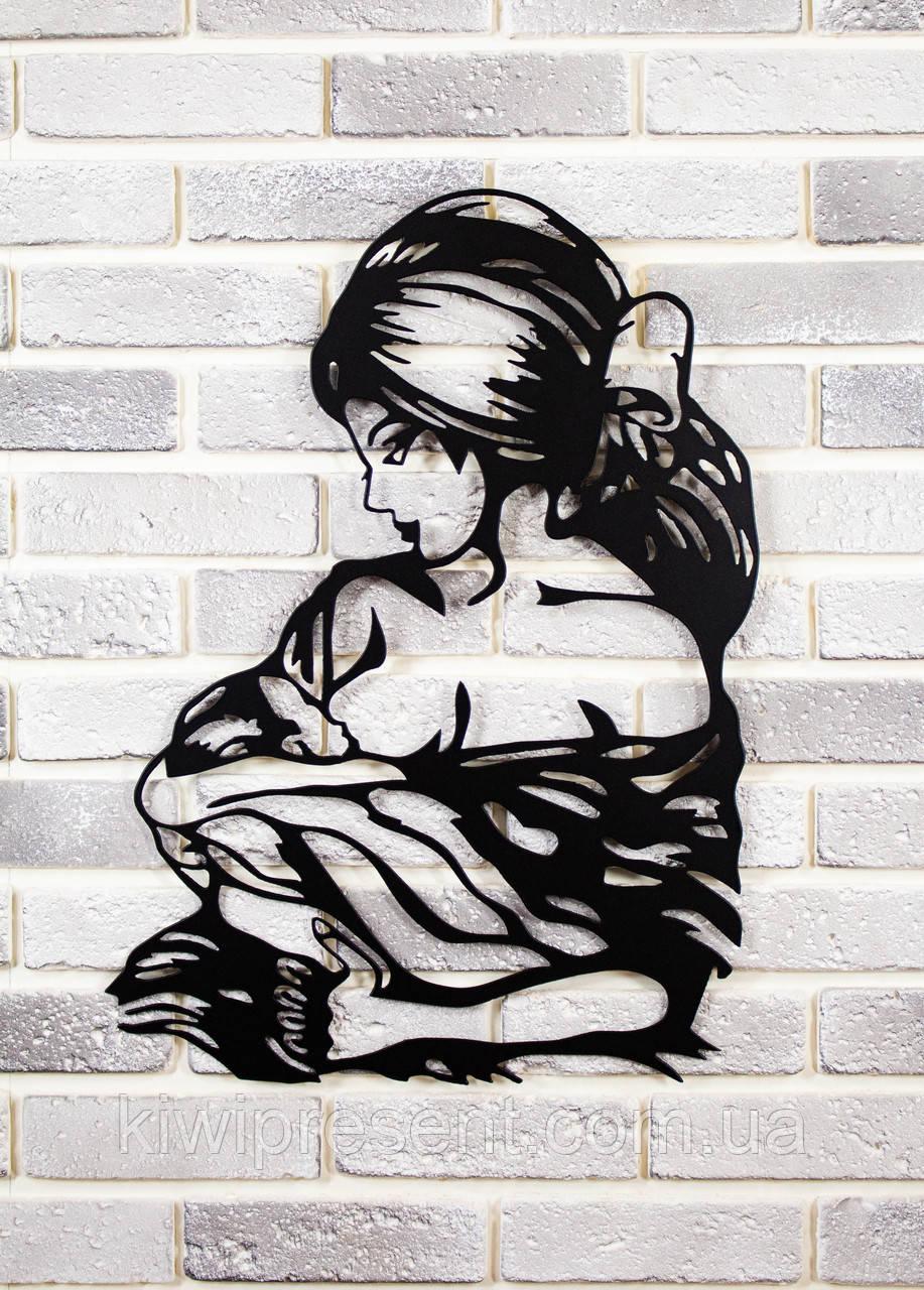 """Картина из металла настенная  """"Мадонна"""" (черный мат). Декоративное панно на стену."""