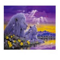 """Картина раскраска по номерам """"Белые львы"""", 40х50см. №30446"""
