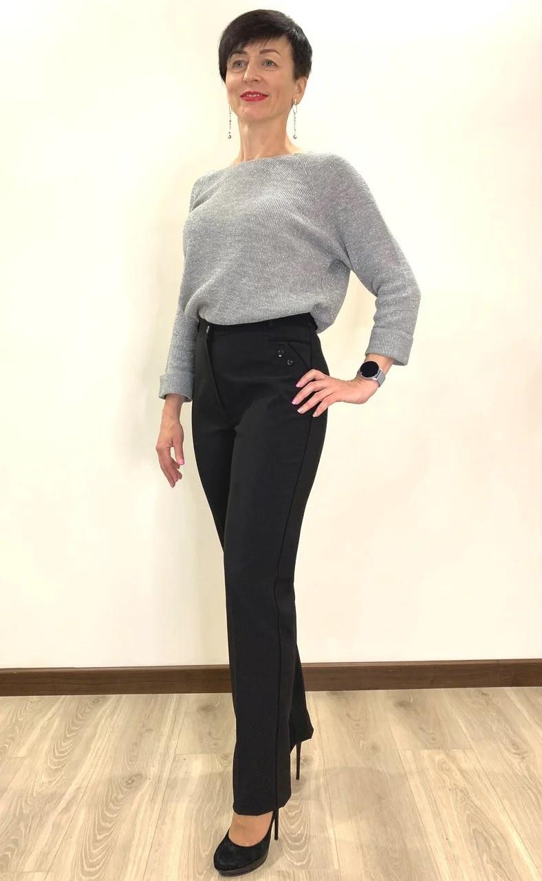 Штани жіночі теплі на байку чорного кольору великого розміру
