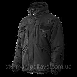 Куртка зимова з капюшоном тактична для Поліції Nylon 100% Black чорна нашивки велкро Україна