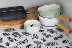 Антибактериальный коврик для холодильника и полок в рулоне ( прозрачный с листиками)