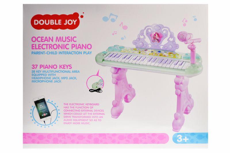 Детское пианино-синтезатор с микрофоном 888-21 на ножках 53 см, запись, свет, 37 клавиш