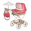 Детская классическая коляска для кукол и пупсов с зонтиком и регулируемым козырьком 82033 красная, фото 3