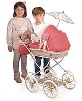 Коляска классическая для кукол и пупсов с зонтиком, съемной сумкой и корзиной для покупок 81033, красная