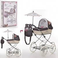 Детская классическая коляска для кукол и пупсов с зонтиком, съемной сумкой, корзиной для покупок 81031