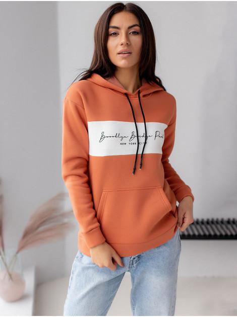 Трикотажная женская кофта - худи утепленная флисом кирпичная  XL
