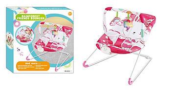 Детский шезлонг-качалка  Качеля для новорожденной девочки Розовый шезлонг