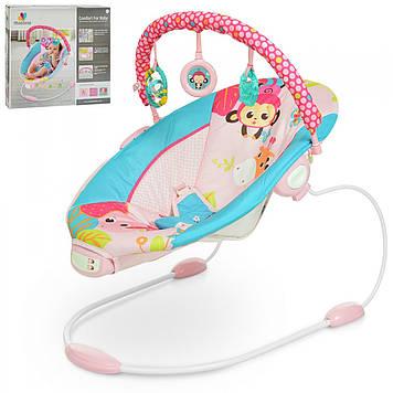 Детский шезлонг-качалка Розовый шезлонг для девочки с рожджения