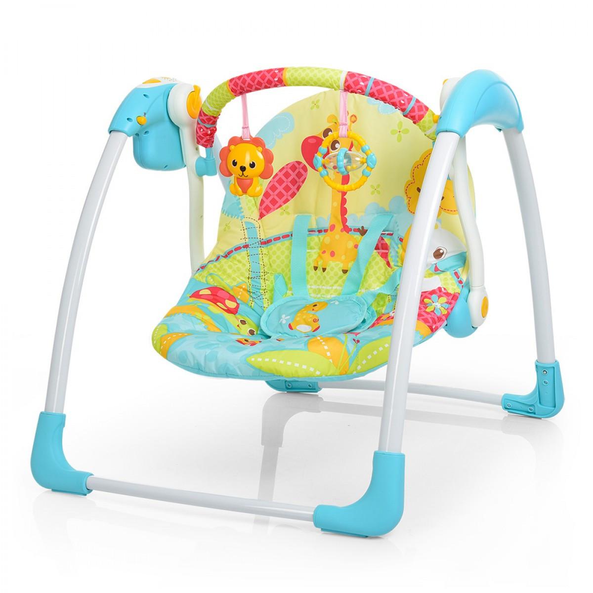 Качели детские электронные Голубой шезлонг для новорожденного мальчика Шезлонг для ребенка от 0 мес