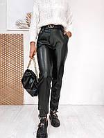 Женские прямые брюки из эко-кожи на флисе, фото 1