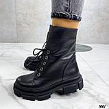 Женские ботинки ДЕМИ черные на шнуровке натуральная кожа, фото 3