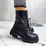 Женские ботинки ДЕМИ черные на шнуровке натуральная кожа, фото 4