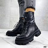 Женские ботинки ДЕМИ черные на шнуровке натуральная кожа, фото 5