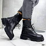 Женские ботинки ДЕМИ черные на шнуровке натуральная кожа, фото 8