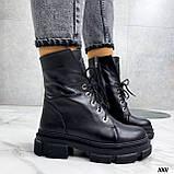 Женские ботинки ДЕМИ черные на шнуровке натуральная кожа, фото 10