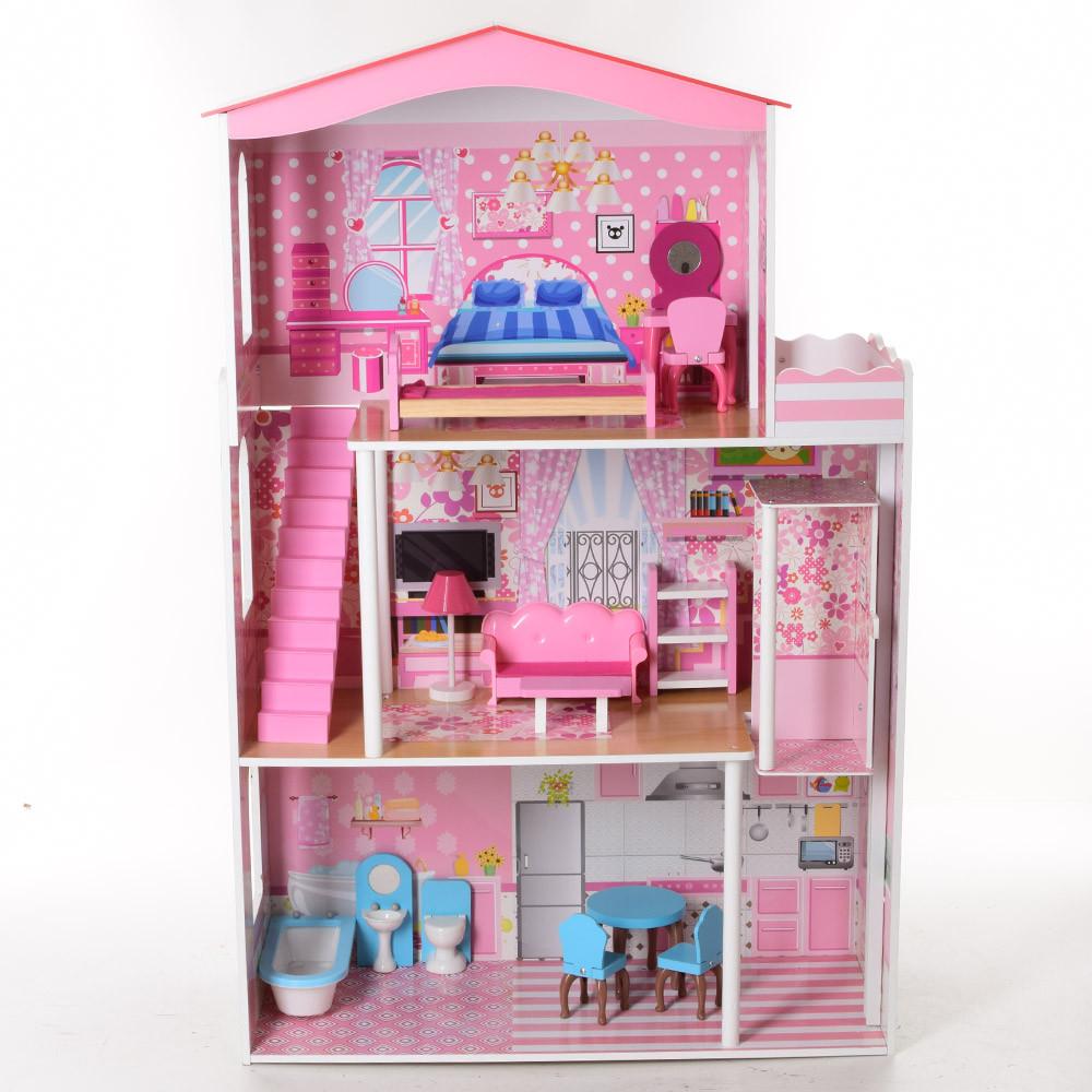 Игровой домик для кукол Деревяний домик для барби, для лол LOL Подарок для девочки от 3 до 12 лет..