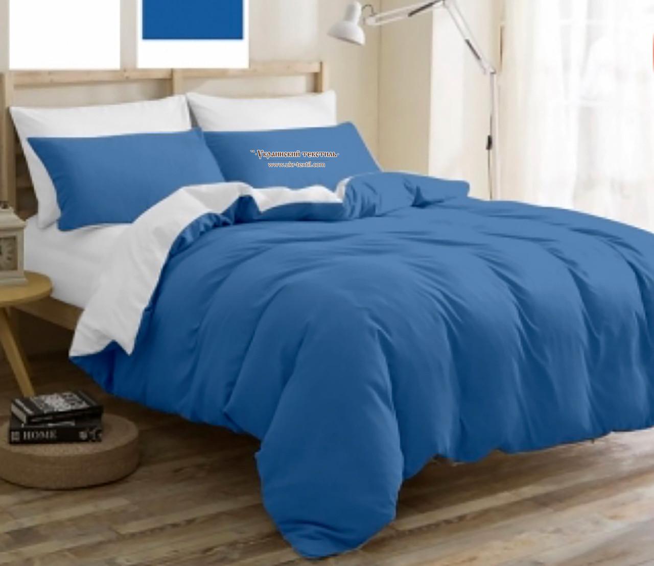 Комплект постельного белья  Бязь GOLD 100% хлопок  Сине - белый Однотонный двухсторонний