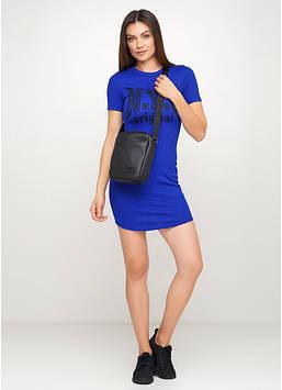 Сумка мессенджер черная с экокожи Черная стильная сумка для девушки Сумка через плечо женские