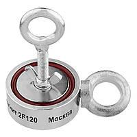 Двухсторонний поисковый магнит НЕПРА 2F120, отрывное усилие 150кг Доставка и ТРОС в подарок