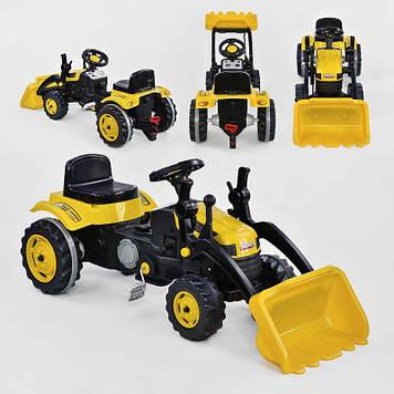 Экскаватор педальный с ковшом цвет желтый Детский веломобиль-эскаватор Педальный трактор для мальчика