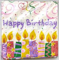 """Салфетки бумажные """"Happy Birthday свечи"""" 20шт/уп"""