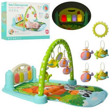 Игровой коврик для младенца Развивающий коврик для ребенка от 0 мес с пианино