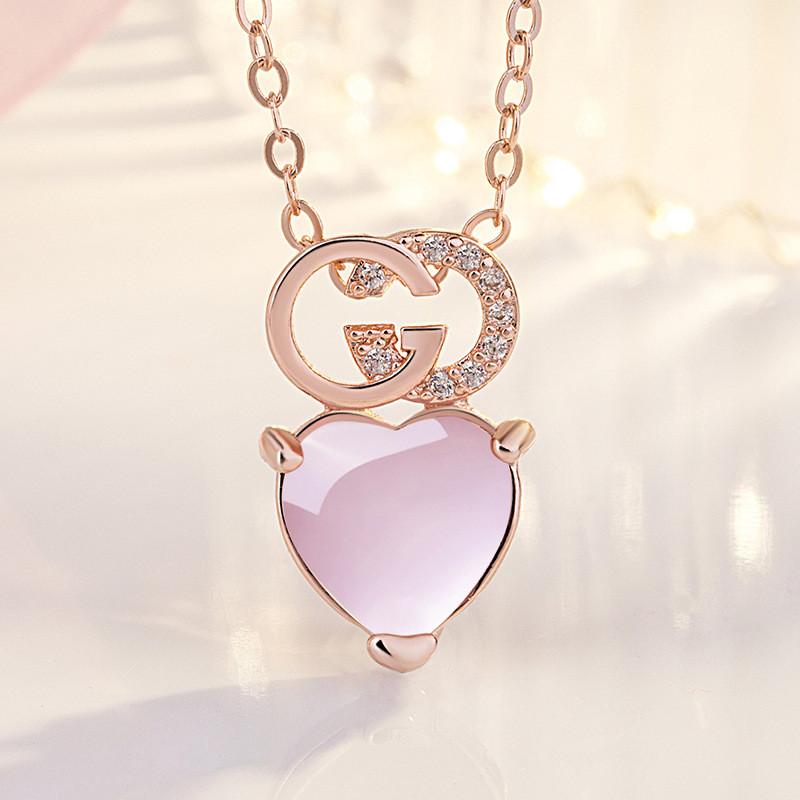 Женский розовый кулон сердце на цепочке, Подвески на шею из медицинского сплава СС1753-65