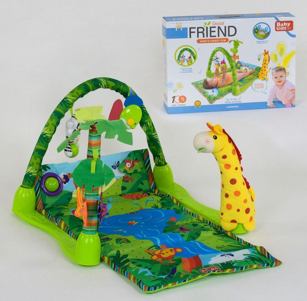 Детский развивающий коврик с дугой Игровой коврик для ребенка от 0 мес