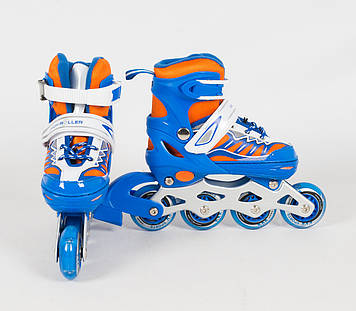 Детские раздвижные ролики со светящимися передними колесами, размер 27-30 Синие детские ролики