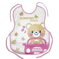 Слюнявчик клеёнчатый с завязками (Мишка в авто)