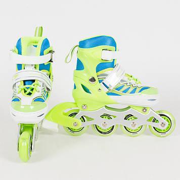 Детские раздвижные ролики со светящимися передними колесами, размер 27-30 Зелёные детские ролики