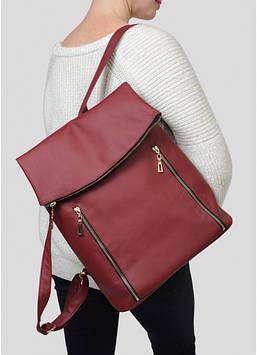 Женский бордовый вместительный рюкзак Женский рюкзак Стильный женский рюкзак Рюкзак для девушки