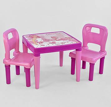 Стол с двумя стульчиками пластиковые для детей Набор из столика и двух стульчиков розовый для девочки