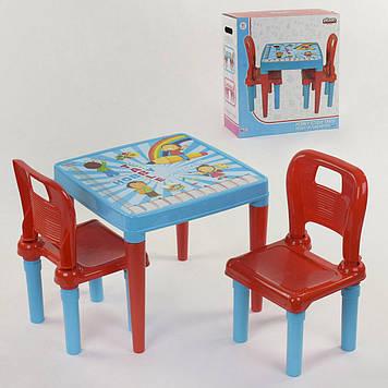 Набор из столика и двух стульчков детский Стол для детей с двумя стульчиками для игр голубой  пластиковый