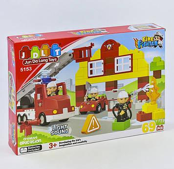 """Детский конструктор """"Пожарная станция"""" для мальчика с звуком и светом (69 деталей) Первый конструктор для маль"""
