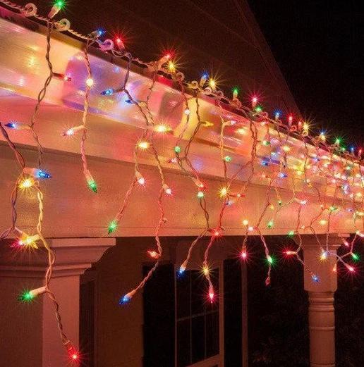 Гірлянда бахрома 100LED 2,2х0,6м з заглуш. прозорий провід RD-7164 | Новорічна вулична LED гірлянда