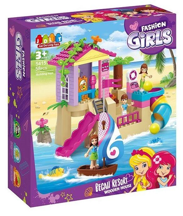 """Конструктор """"Дом на пляже"""" (аналог Lego) 58 деталей Конструктор с крупными деталями для девочки"""