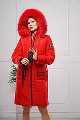 Женская зимняя удлиненная куртка с натуральным мехом р. 44-58