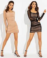 Вечернее облегающее платье украшенное драпировкой PF-4717-02